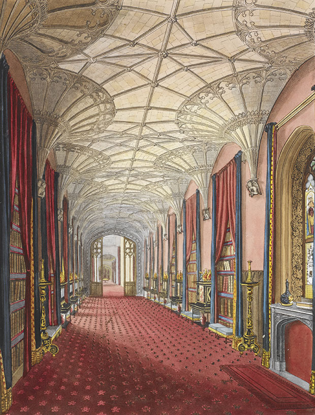 Fonthill Abbey - Galerie des Südflügels ©Abbildung aus: Delineations of Fonthill and its abbey by John Rutter, 1823
