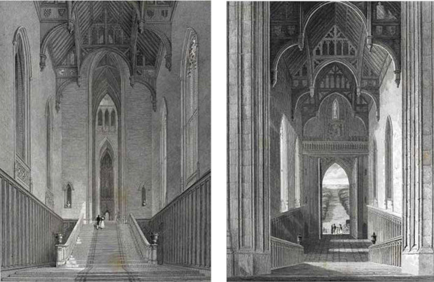 Fonthill Abbey - Darstellung des Westflügels ©Abbildungen aus: Delineations of Fonthill and its abbey by John Rutter, 1823 (links); Graphical and literary illustrations of Fonthill abbey by John Britton, 1823 (rechts)