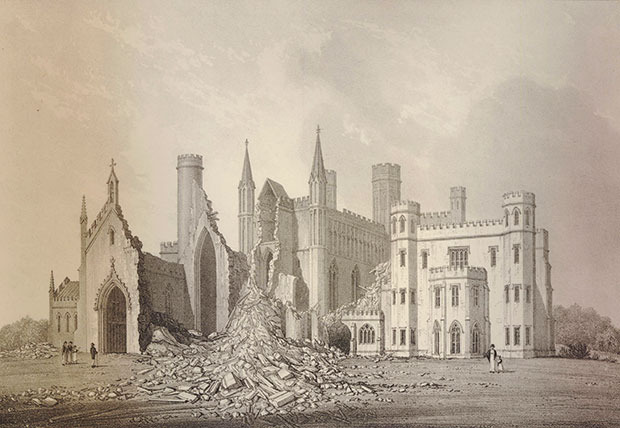 Fonthill Abbey - Darstellung des Zusammengestürzten Turmes ©Abbildung: Ruins of the Fonthill Abbey by John Buckler, © Trustees of the British Museum