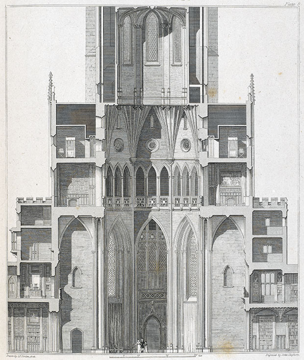 Fonthill Abbey - Konstruktionszeichnung ©Abbildung aus: Delineations of Fonthill and its abbey by John Rutter, 1823