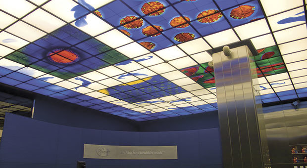 Brian Clarke, 'Pfizer Pharmeceuticals', New York, USA. Stained Glass. 1996. 600 qm.'P zer Pharmeceuticals', New York, USA. Stained Glass. 1996. 600 qm. ©Foto: Brian Clarke